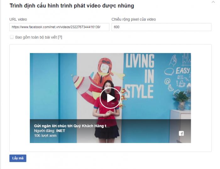 lấy mã nhúng video facebook
