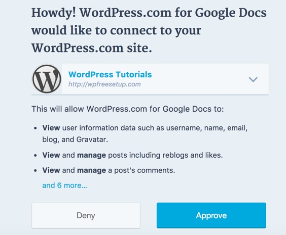 Approve-Google-docs-access-to-WordPress