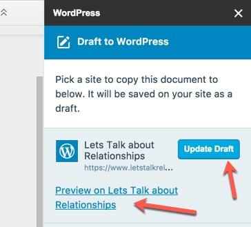 Update-WordPress-draft-from-Google-docs