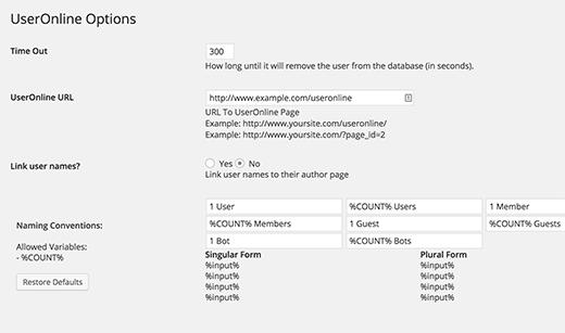 user-online-settings