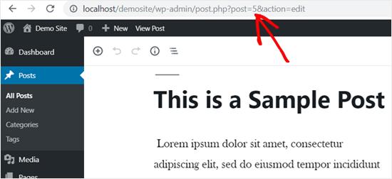 wordpresspostidinaddressbar
